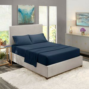 Navy Egyptian Comfort Bed Sheets 4 Piece! Sale!